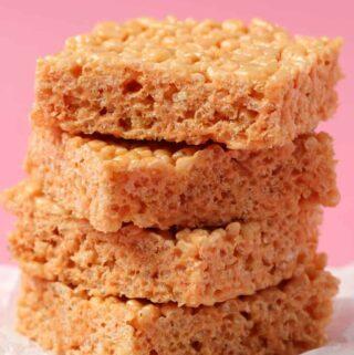 Vegan rice krispie treats in a stack.