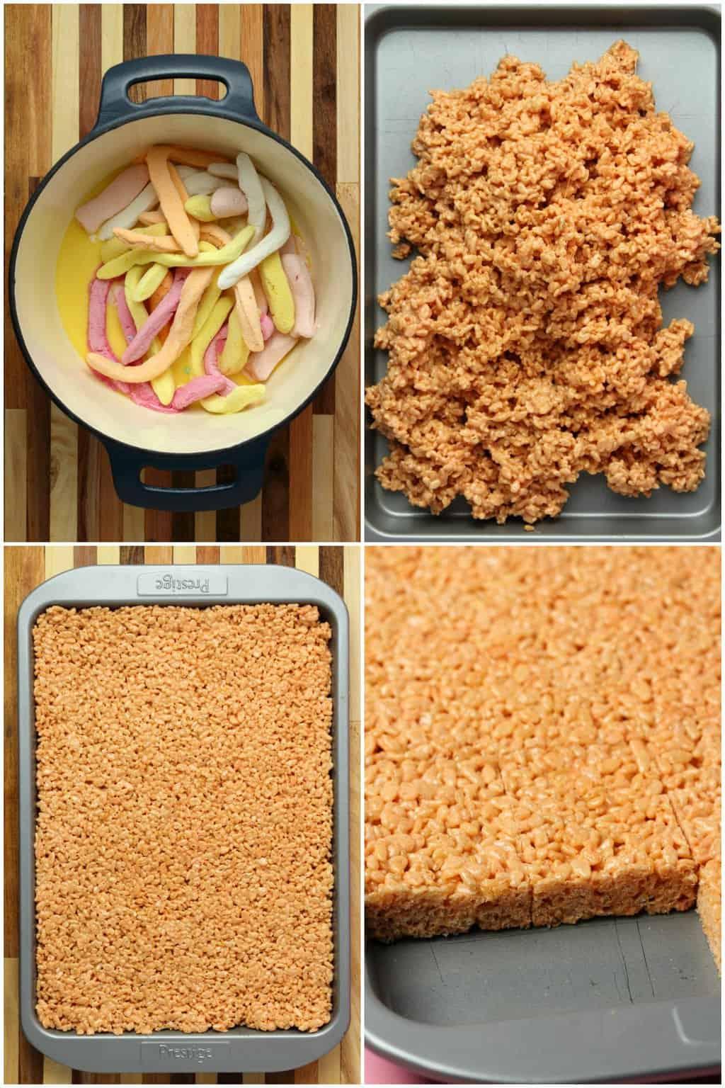 Step by step process photos of preparing vegan rice krispie treats.