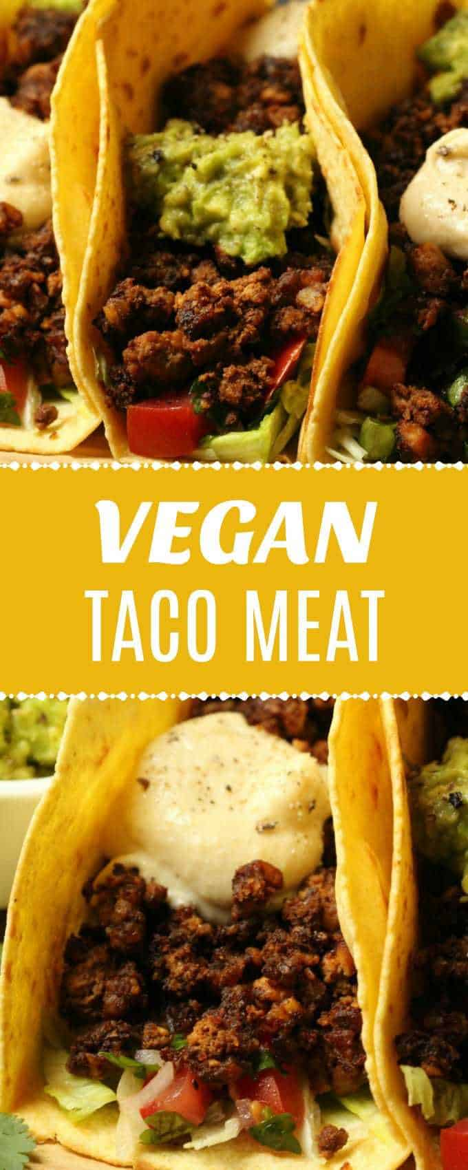 Chewy and 'meaty' vegan taco meat! High in protein, versatile and crazy delicious, this tofu and walnut taco meat is ideal in your tacos or over the top of your nachos! | lovingitvegan.com