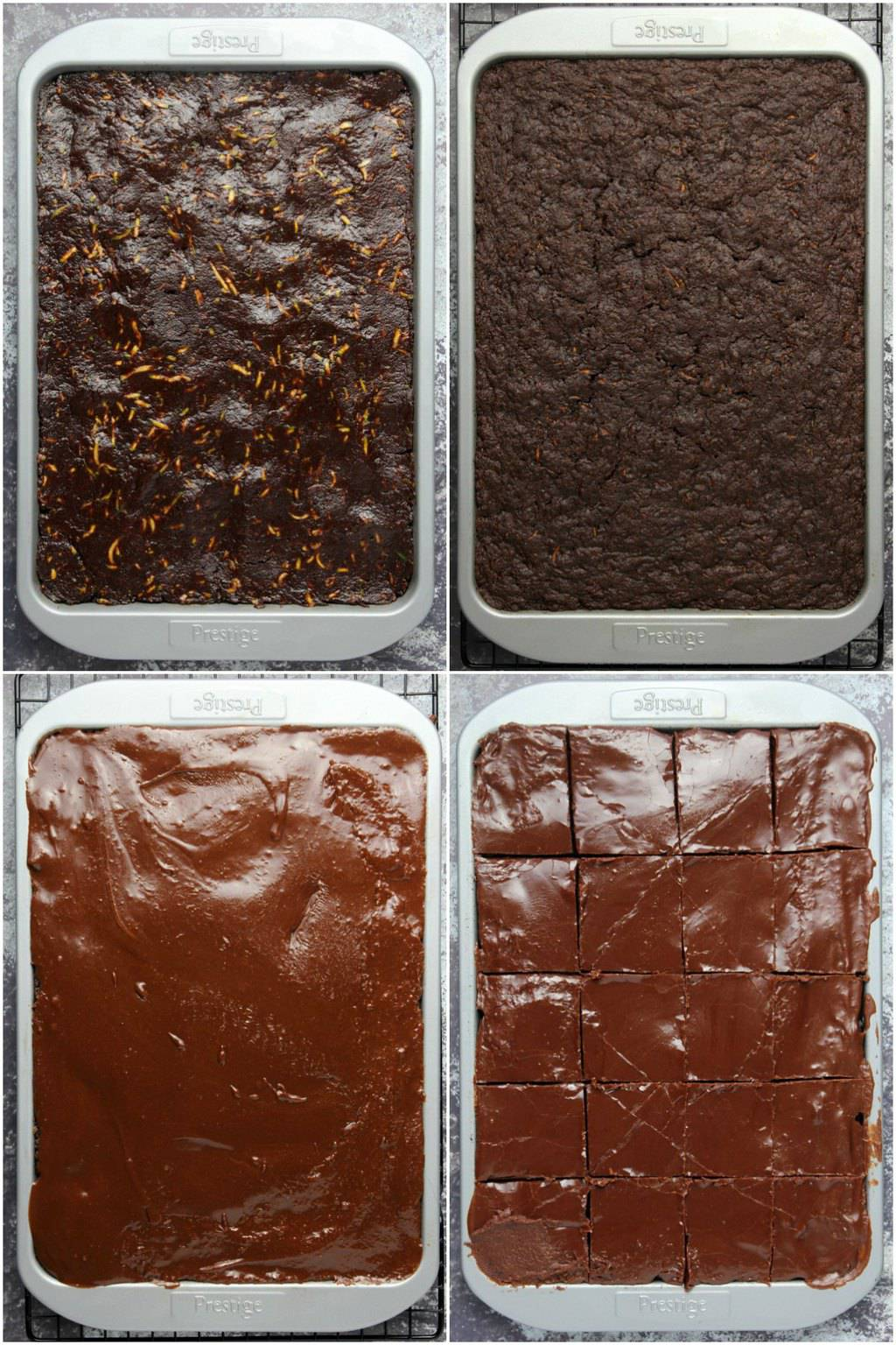 Step by step process photo collage of making vegan zucchini brownies.