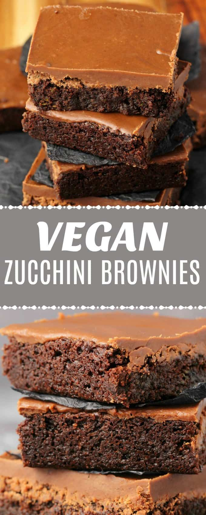 Fudgy and rich vegan zucchini brownies with a chocolate fudge topping. Mega-chocolatey and so easy to make, and you'll never know there's zucchini in them! | lovingitvegan.com