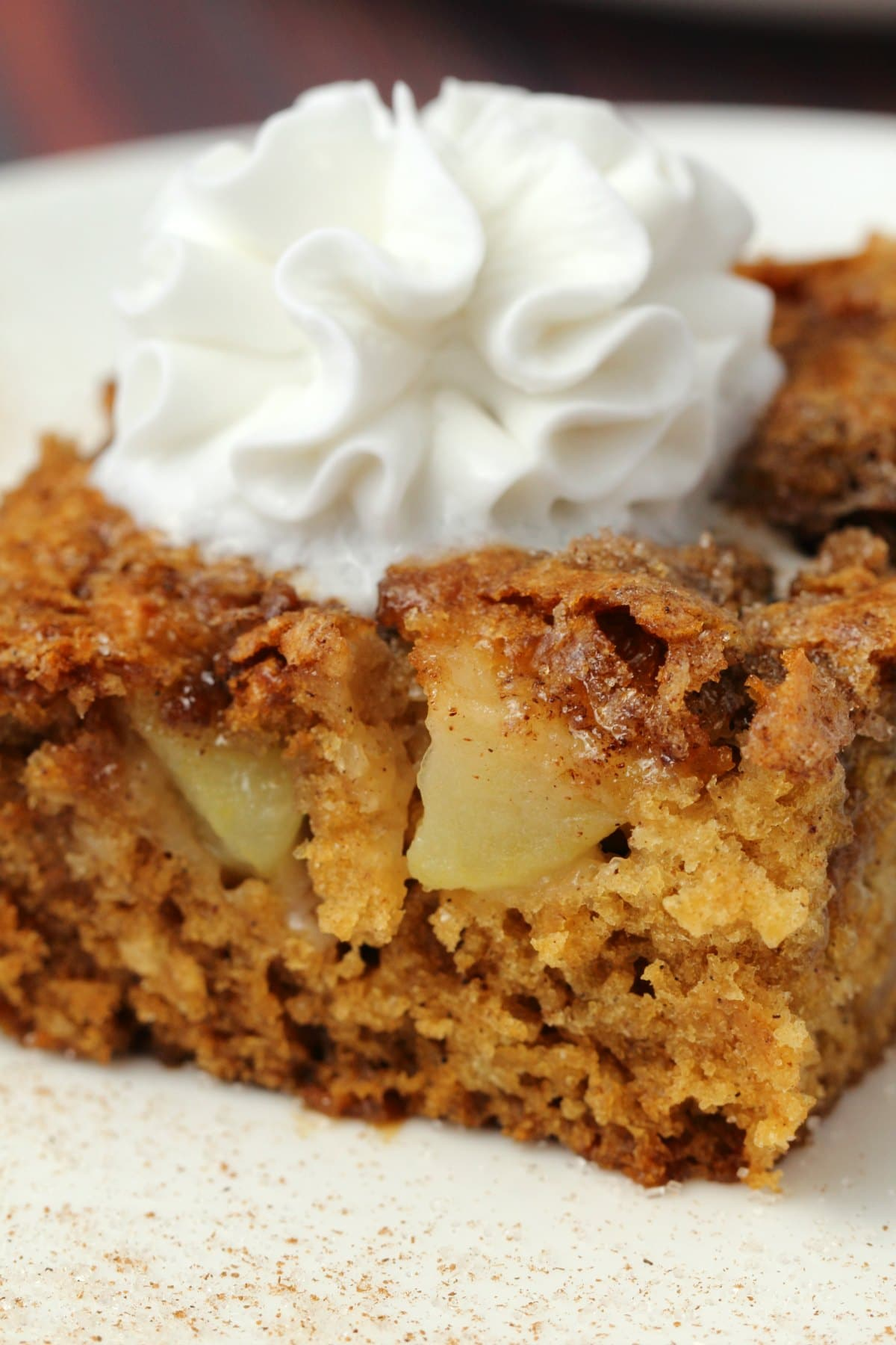 Slice of vegan apple cake topped with vegan whipped cream on a white plate.