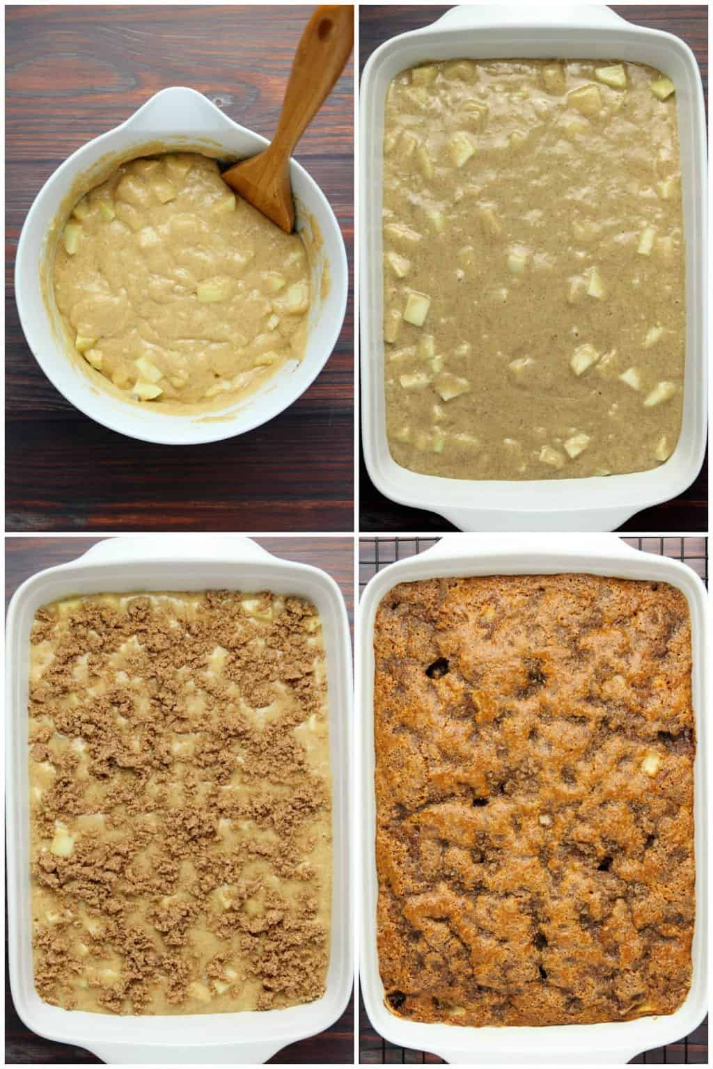 Step by step process photo collage of making vegan apple cake.
