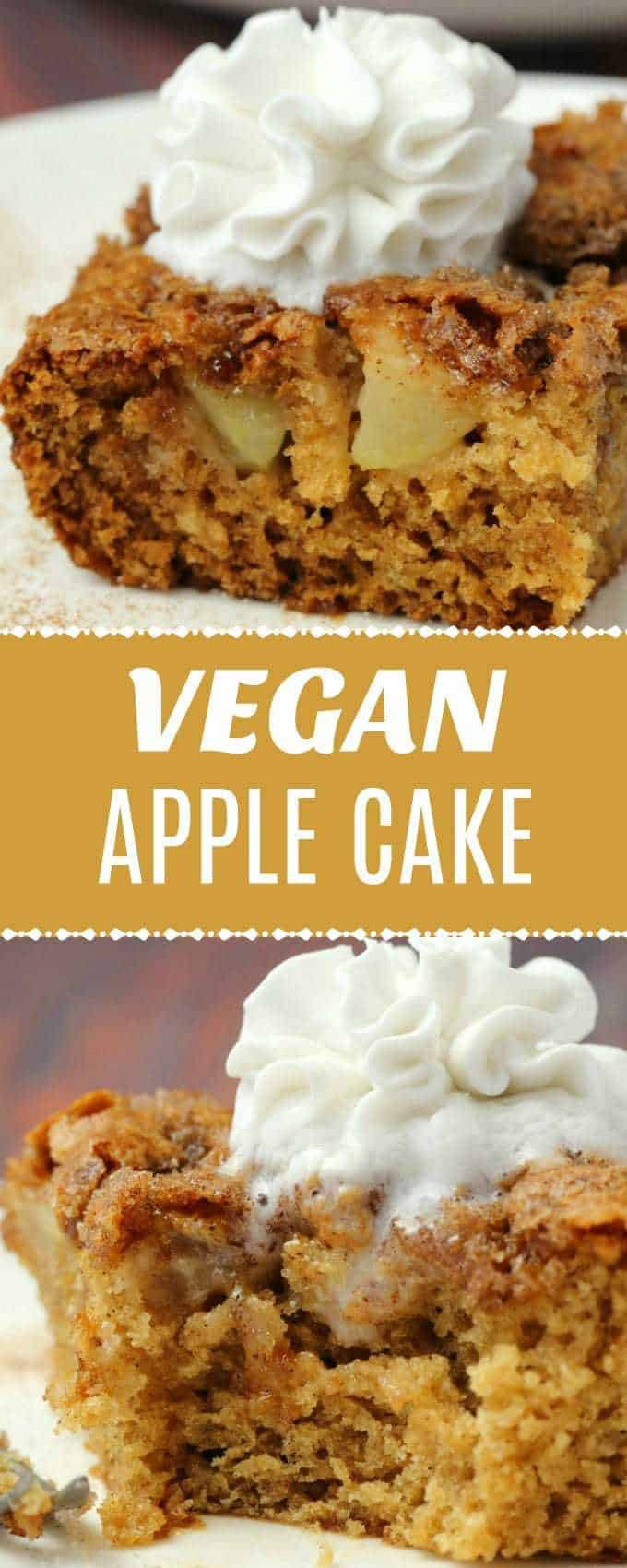 Light and fluffy vegan apple cake with a cinnamon sugar topping. Packed with fresh apple flavor and absolutely divine served warm with vegan whipped cream. | lovingitvegan.com
