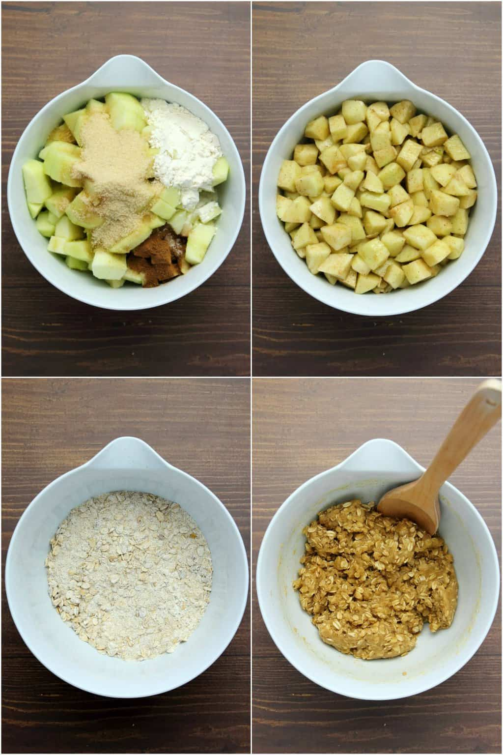 Step by step process photo collage of making vegan apple crisp.