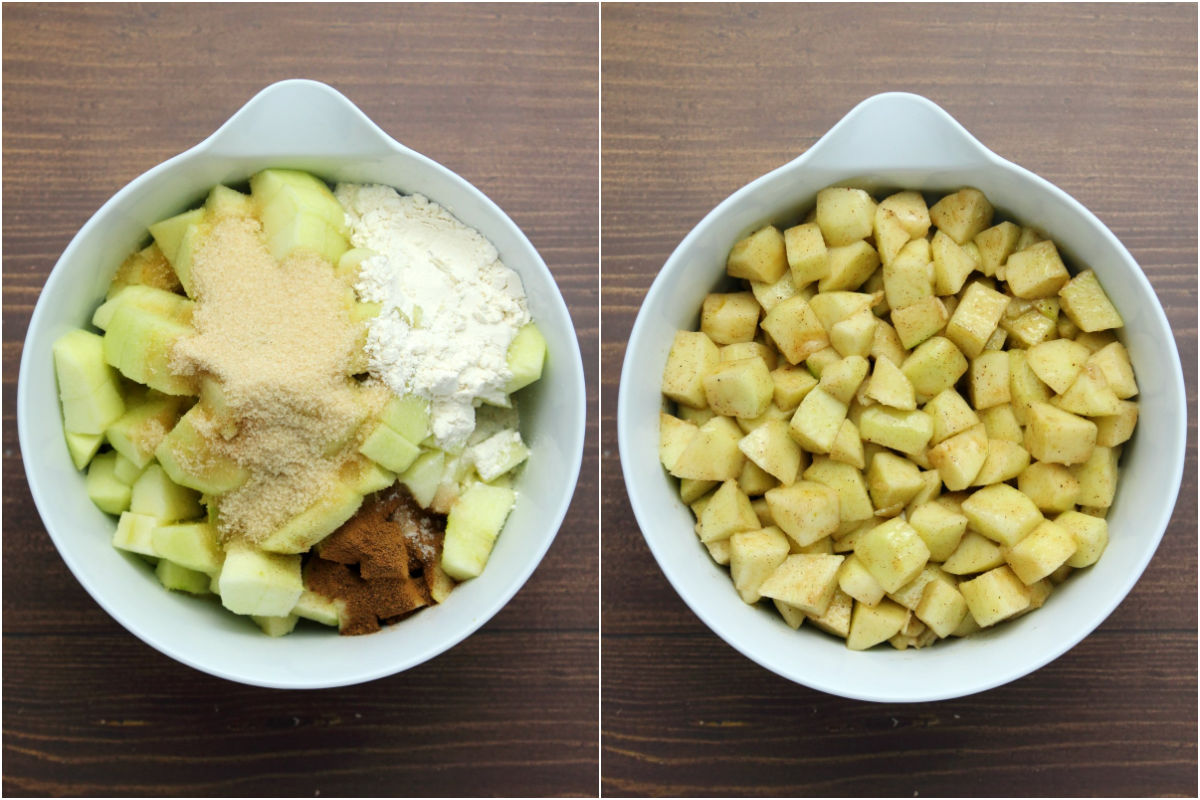 Two photo collage showing chopped apples, flour sugar and spices in a mixing bowl and then tossed together.
