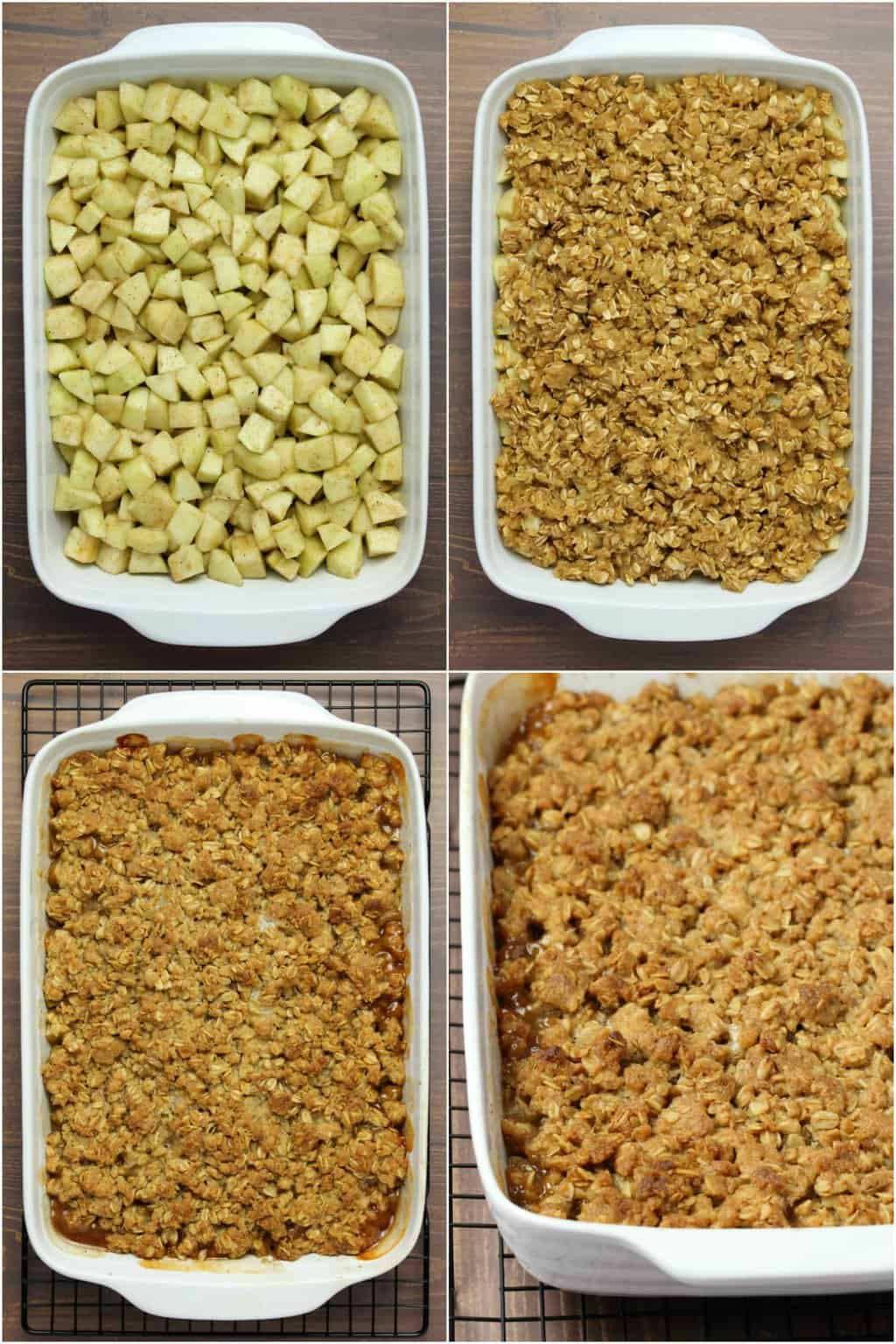 Step by step photo collage of making vegan apple crisp.