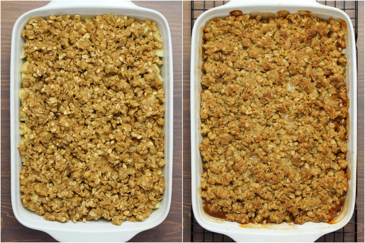 Two photo collage showing apple crisp before and after baking.