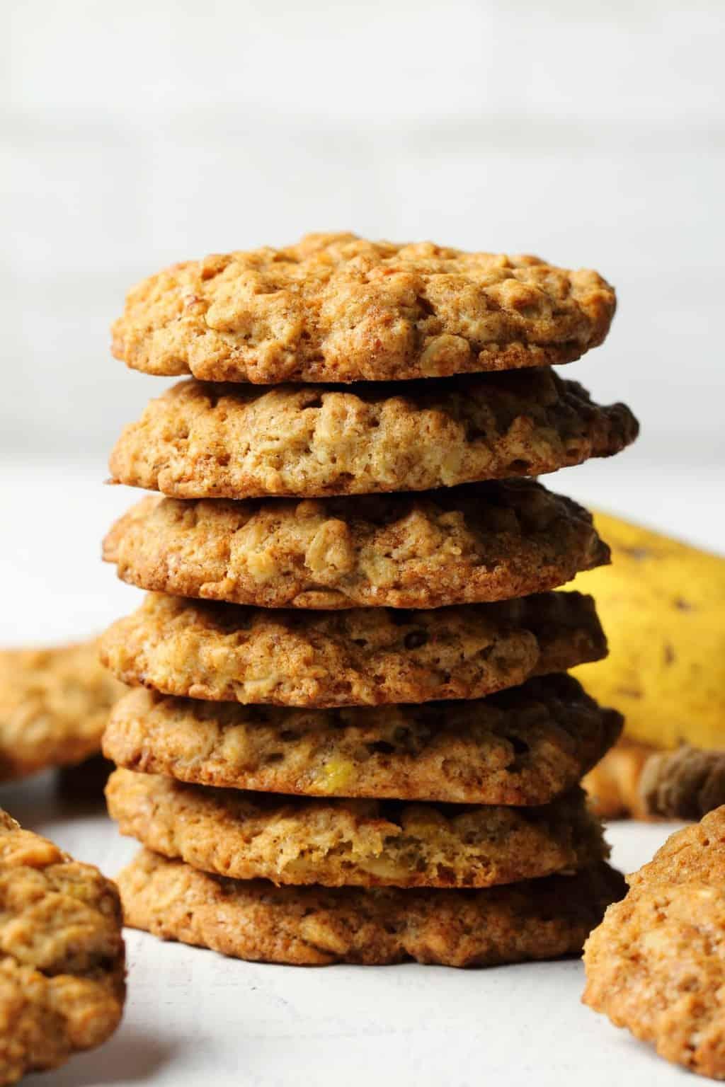 Vegan banana oatmeal cookies in a stack.