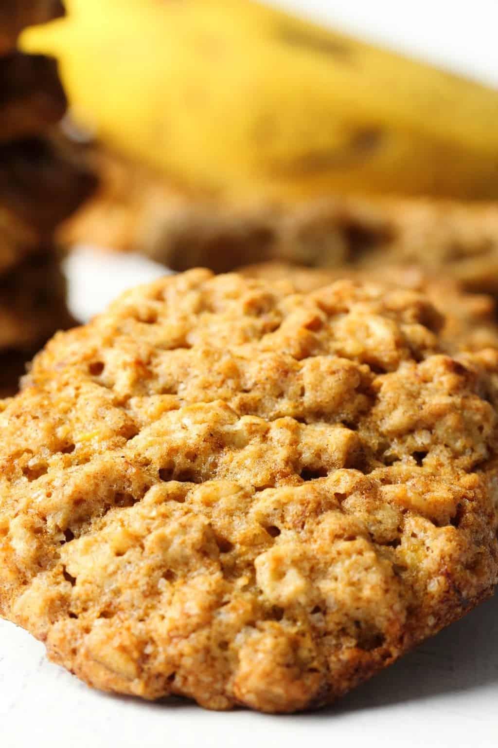 Vegan banana oatmeal cookies in a row.