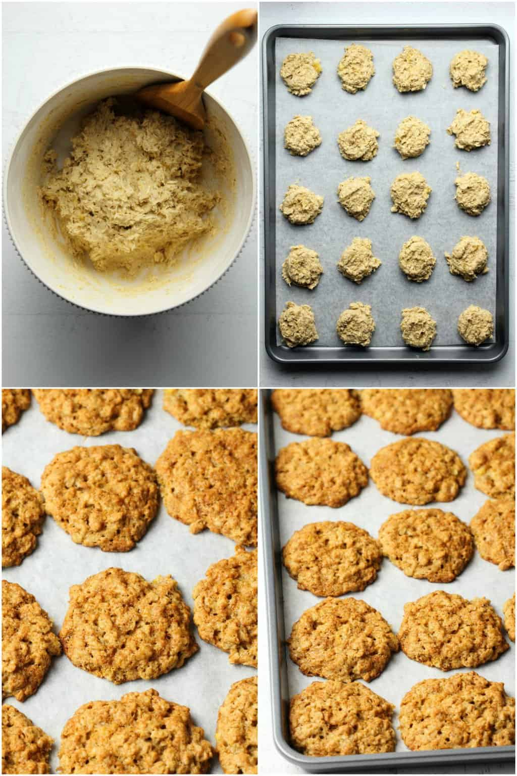 Step by step process photo collage of making vegan banana oatmeal cookies.