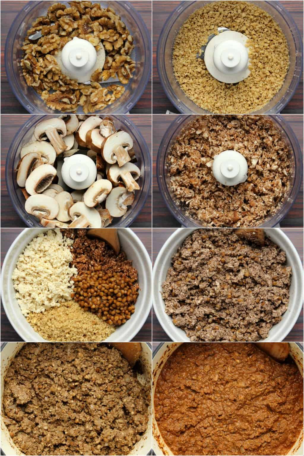 Step by step process photo collage of making vegan bolognese sauce.