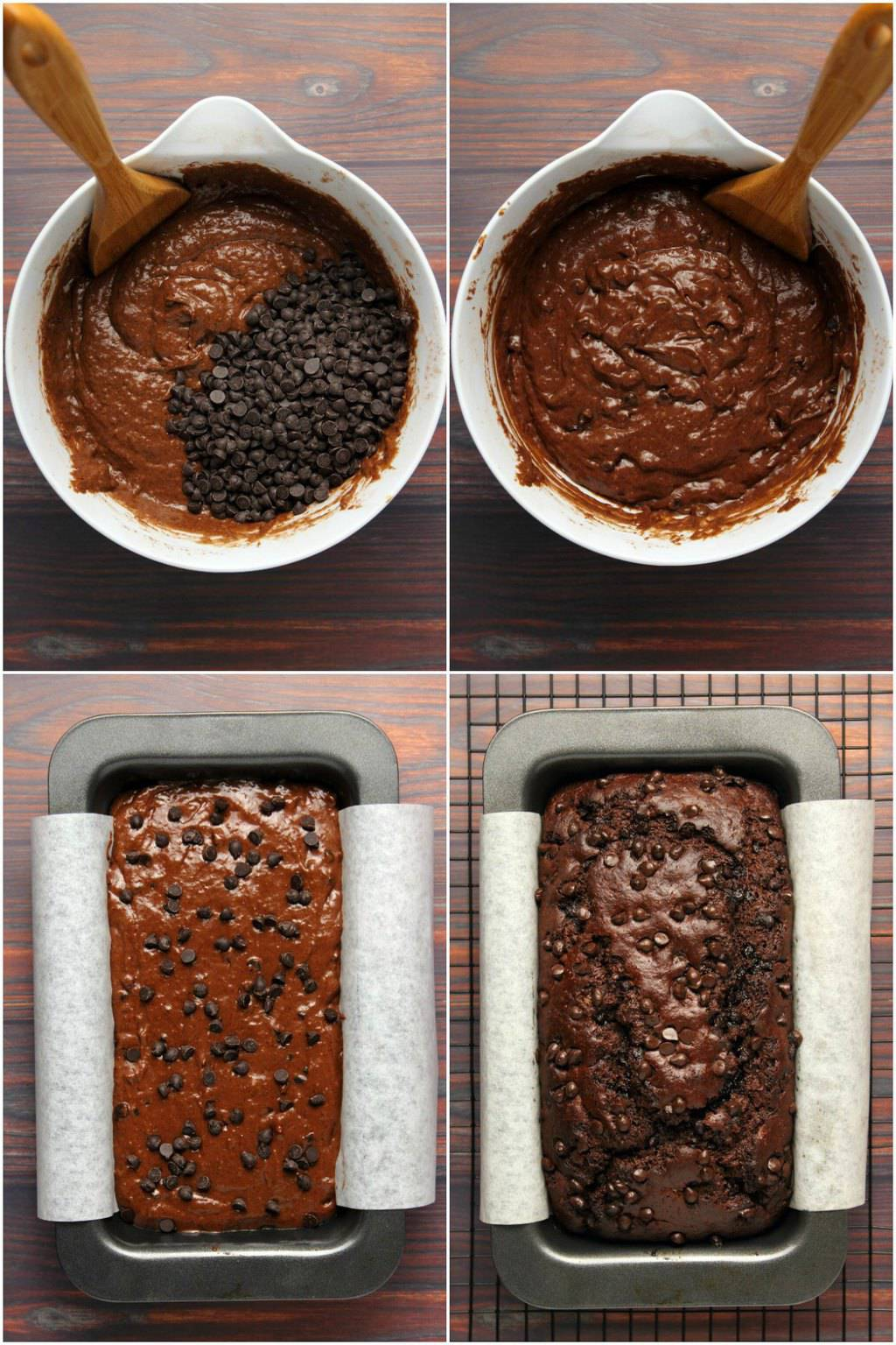 Step by step process photo collage of making vegan chocolate banana bread