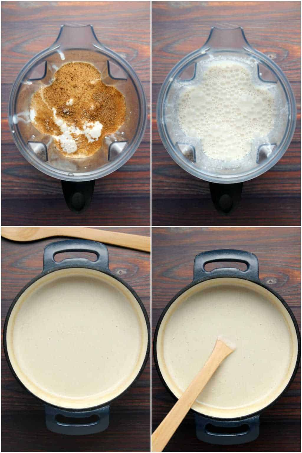 Step by step photo collage of making vegan eggnog.