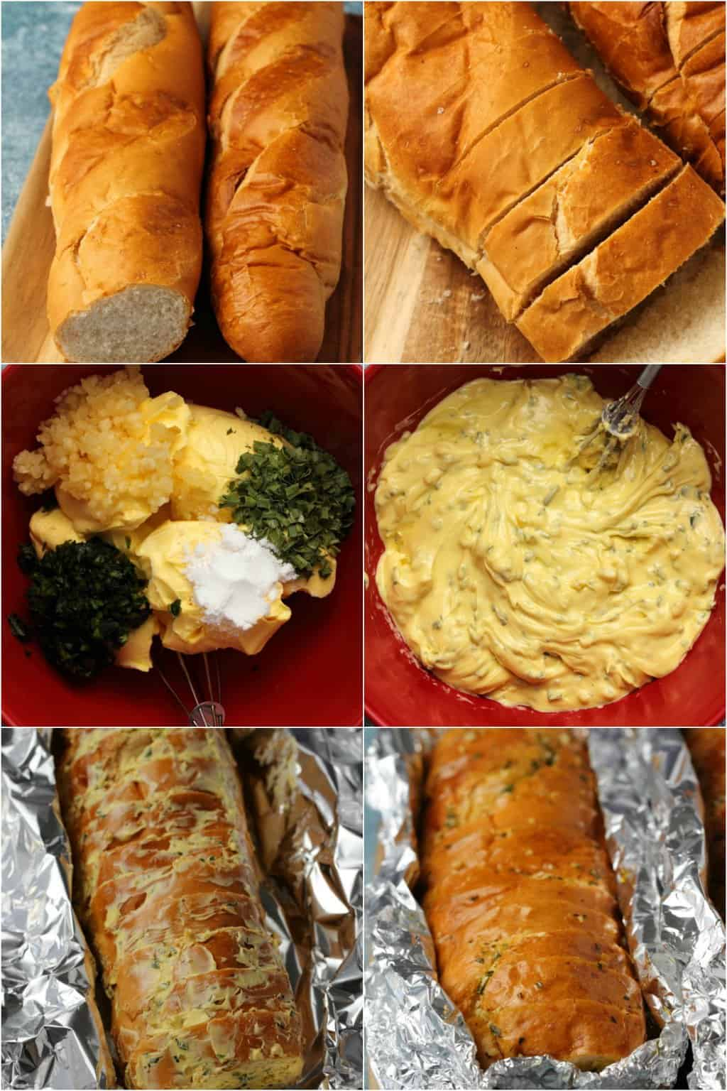 Step by step process photo collage of making vegan garlic bread.