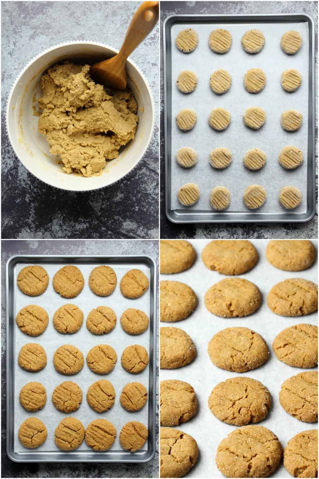 Step by step process photo collage of making vegan molasses cookies.