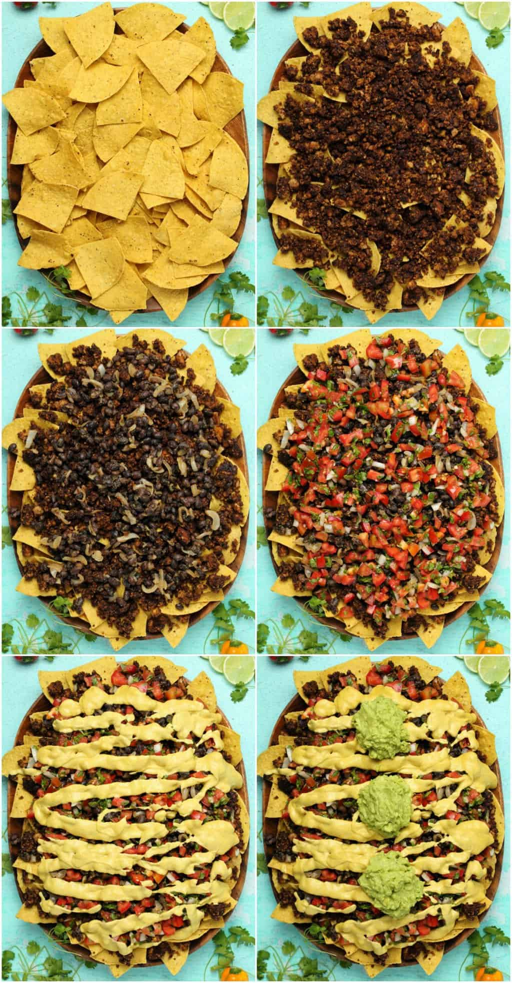 Step by step process photo collage of making vegan nachos.