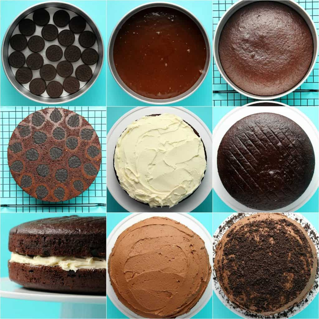 Step by step process photo collage of making a vegan oreo cake.