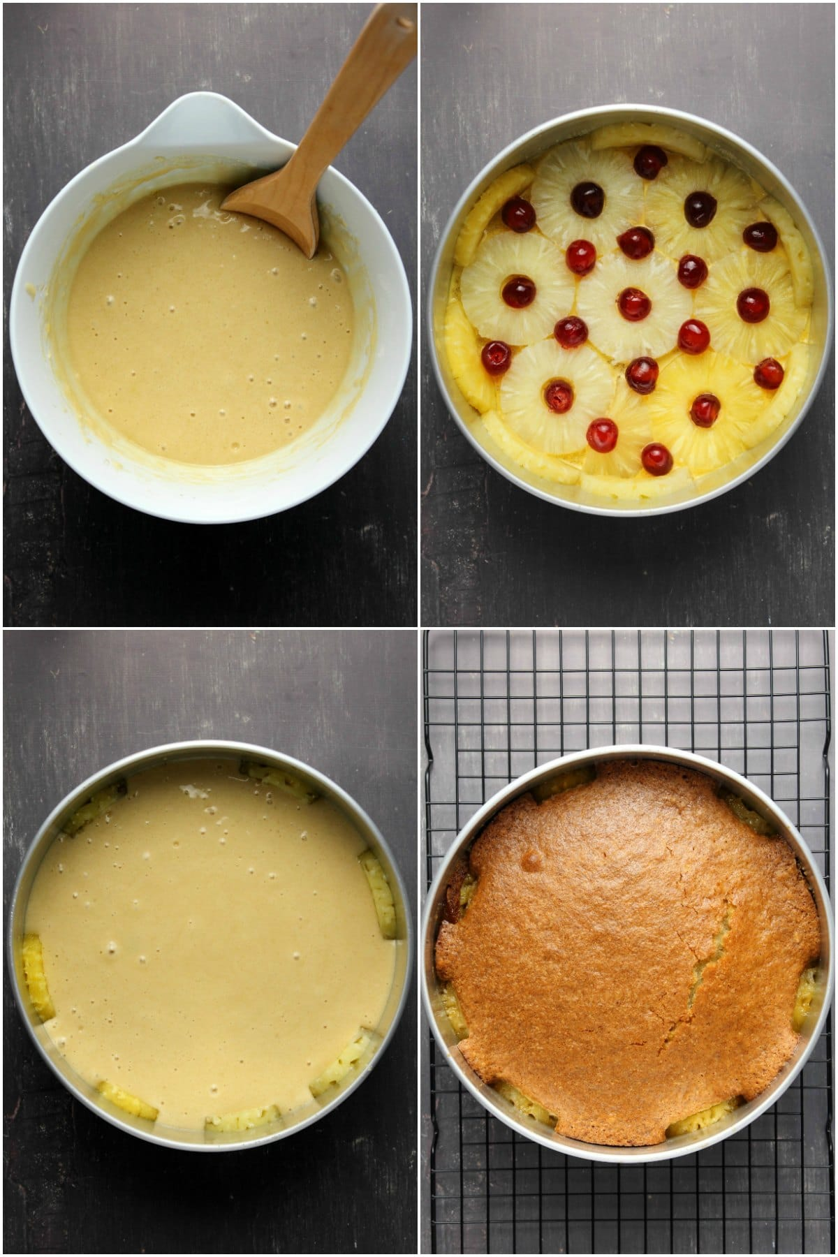 Step by step process photo collage of making a vegan pineapple upside down cake.