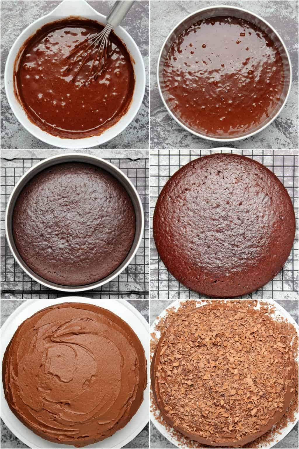Step by step process photo collage of making vegan chocolate cake.