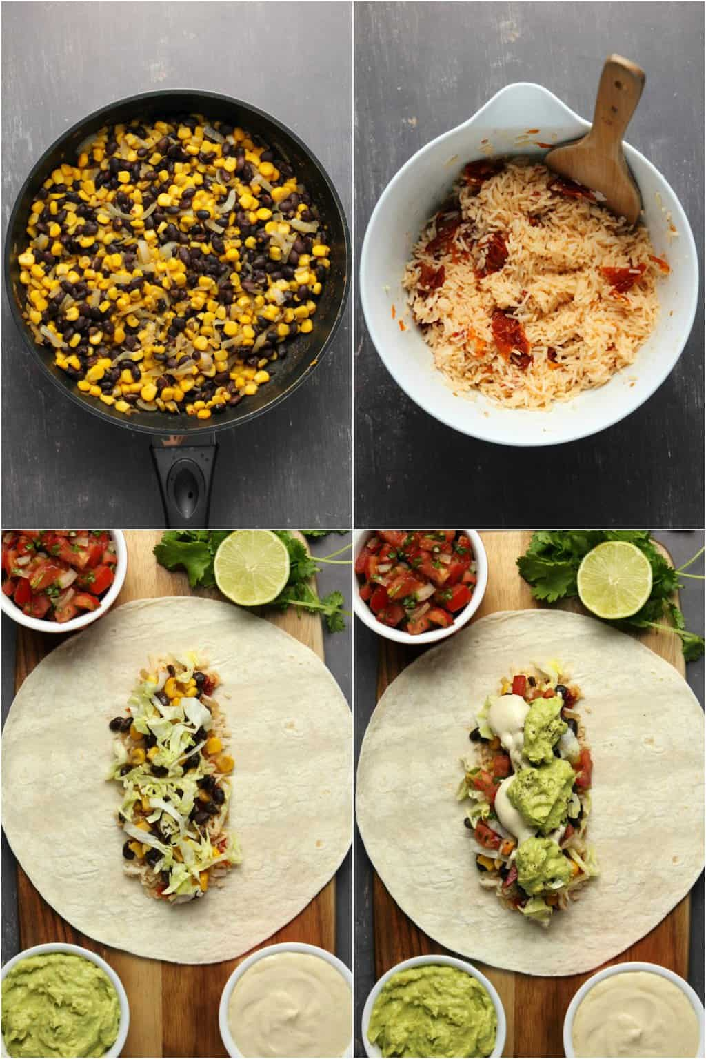 Step by step process photo collage of making vegan burritos.