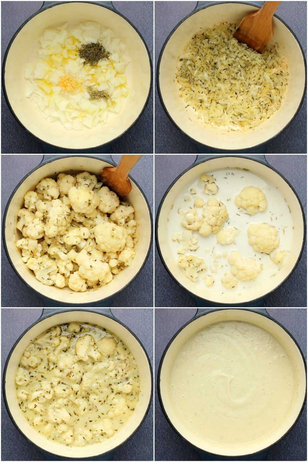 Step by step process photo collage of making vegan cauliflower soup.