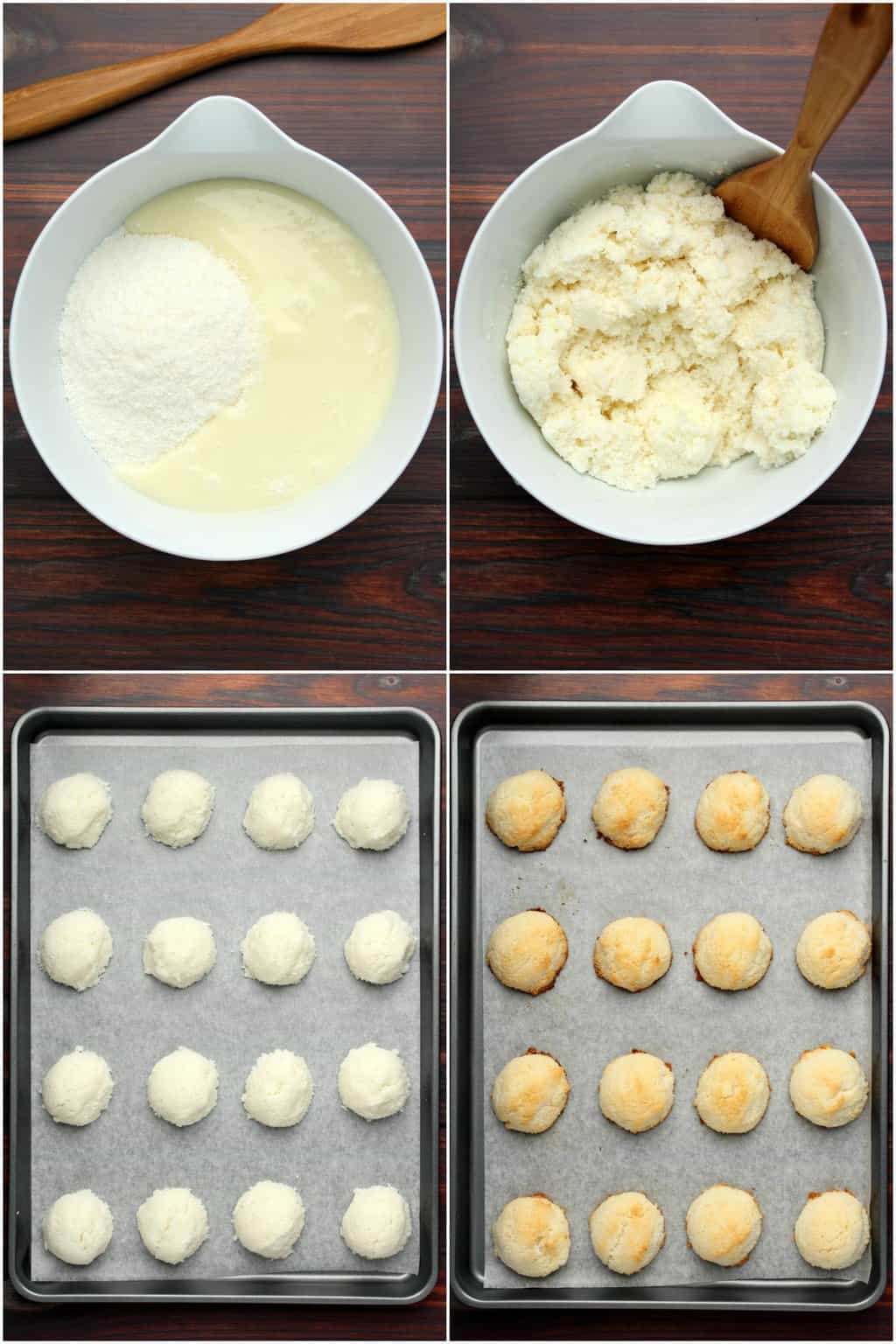 Step by step process photo collage of making vegan macaroons.