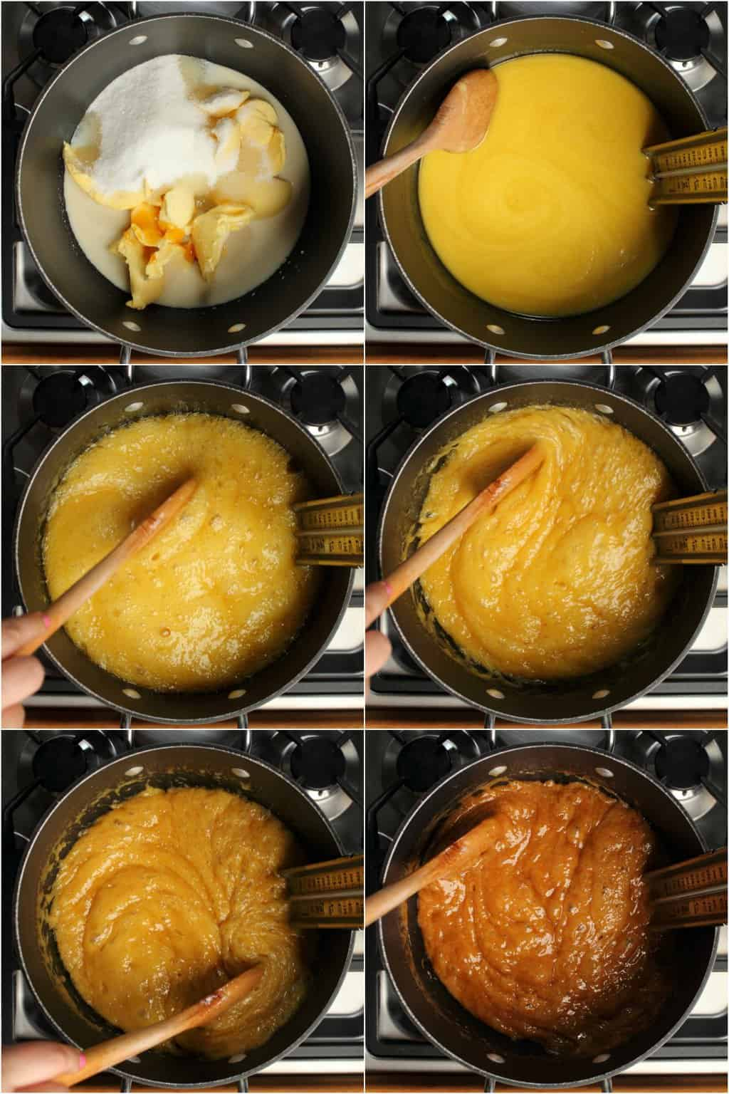 Step by step process photo collage of making vegan toffee on the stovetop.