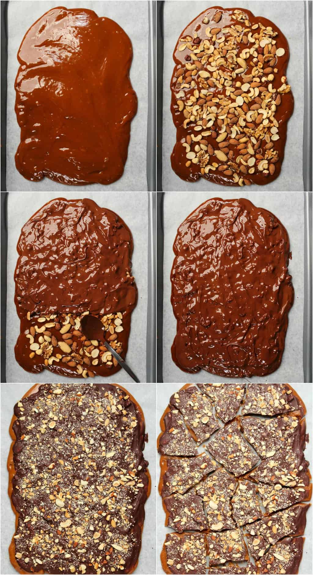 Step by step process photo collage of making vegan toffee.