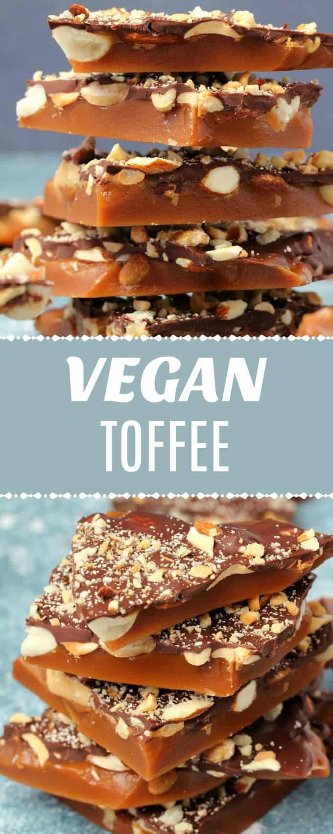Creamy and buttery vegan toffee topped with salted nuts and vegan dark chocolate. This sweet and salty treat is totally over-the-top decadent and perfect for the holidays.| lovingitvegan.com