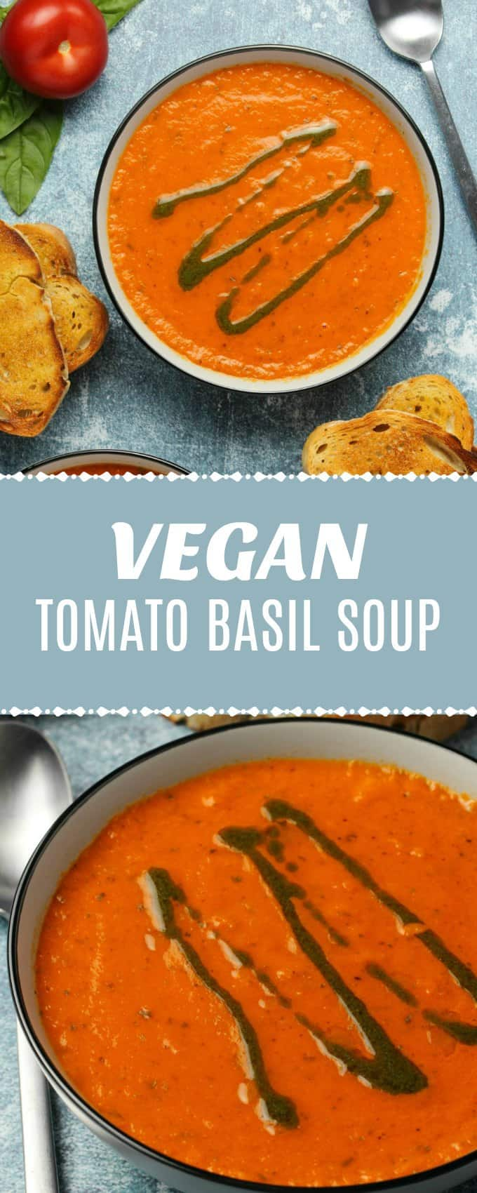 Deliciously creamy vegan tomato basil soup served with a drizzle of homemade basil oil. Super easy, restaurant-worthy appetizer, packed with flavor! | lovingitvegan.com