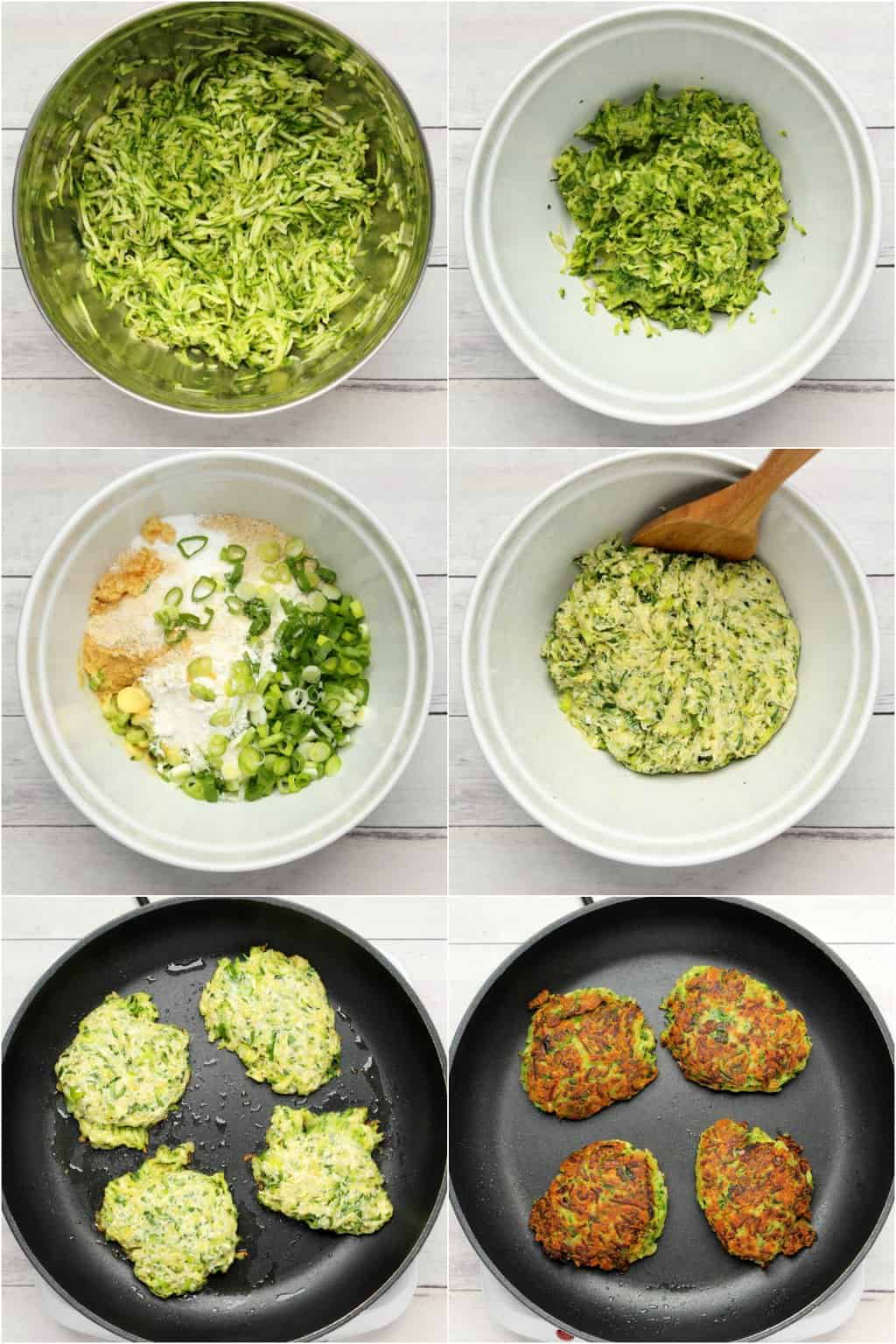 Step by step process photo collage of making vegan zucchini fritters.