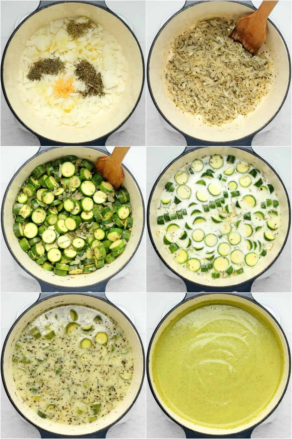 Step by step process photo collage of making vegan zucchini soup.