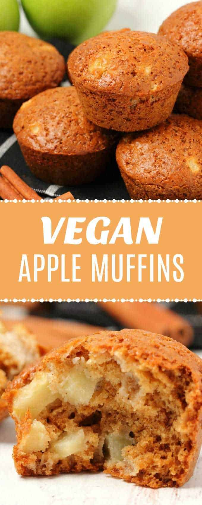 Wonderfully soft and moist vegan apple muffins packed with delicious cinnamon flavor and whole apple pieces. Perfect for breakfast or dessert! #vegan #muffins #breakfast #dairyfree #veganrecipes | lovingitvegan.com