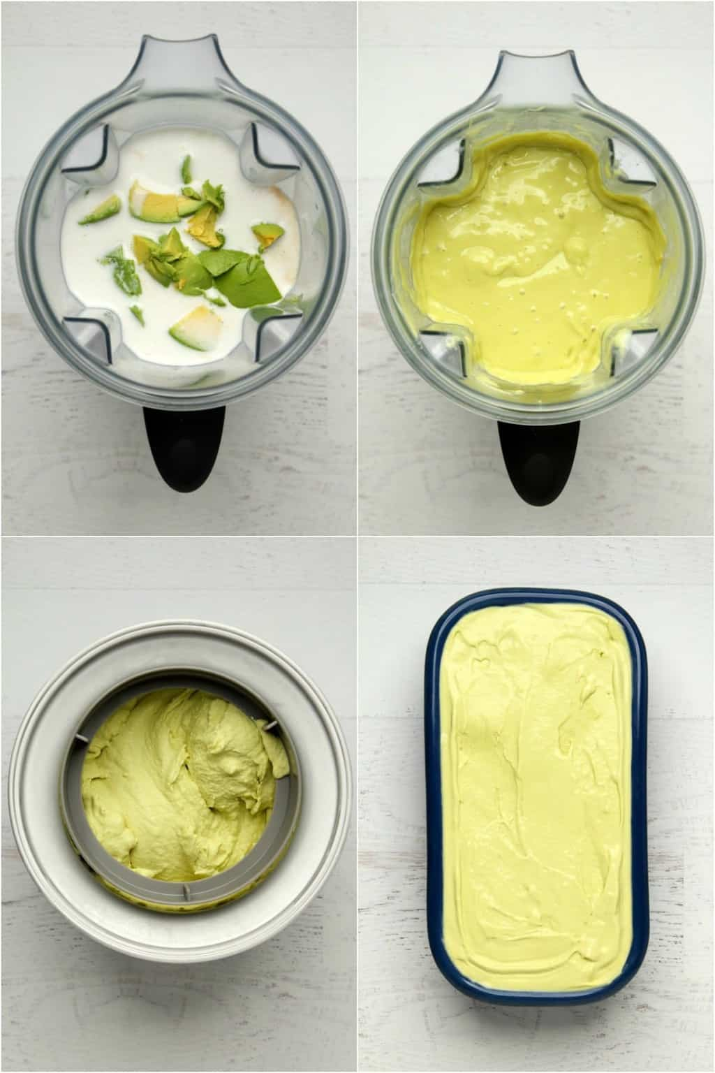 Step by step process photo collage of making vegan avocado ice cream