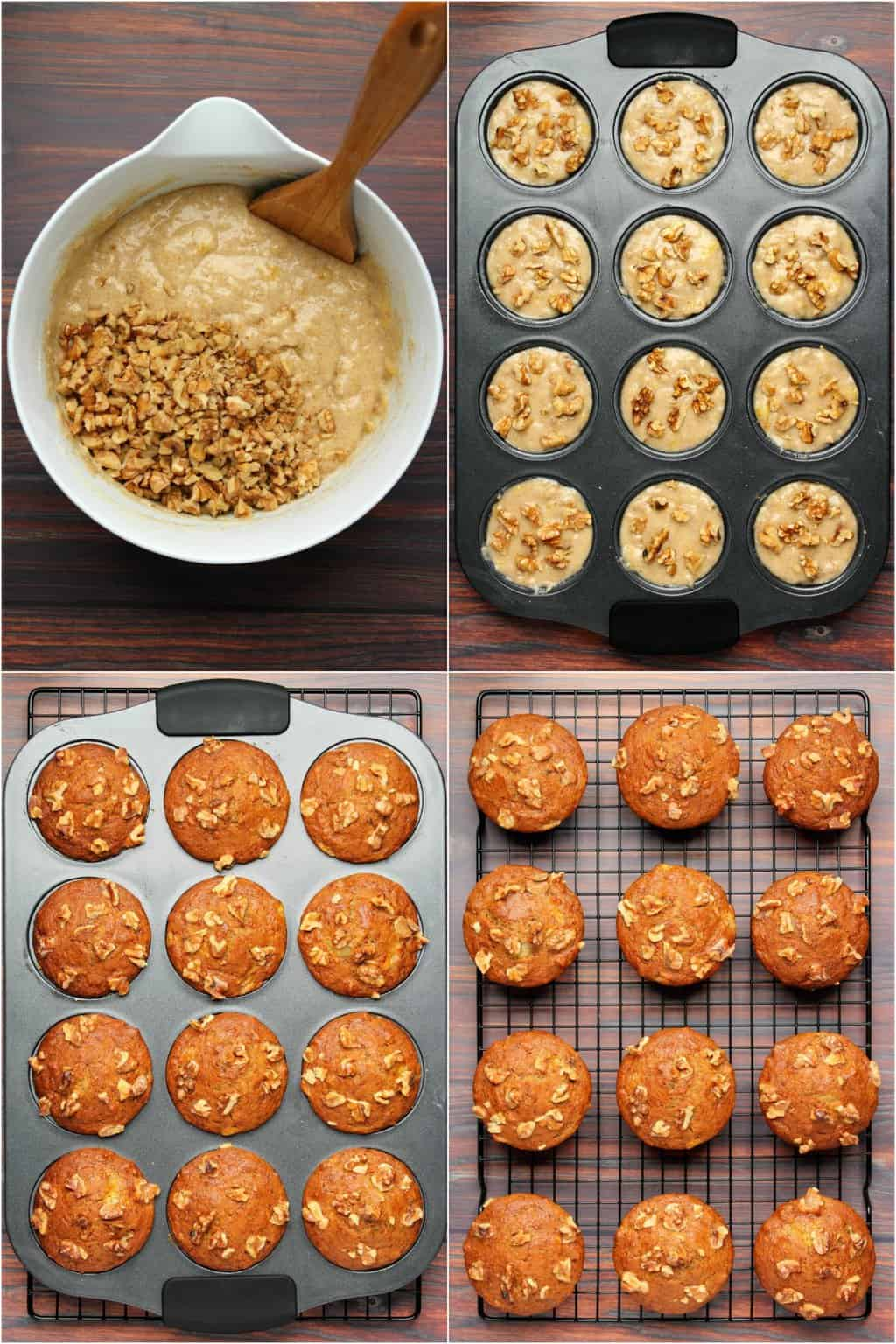 Step by step process photo collage of making vegan banana muffins.