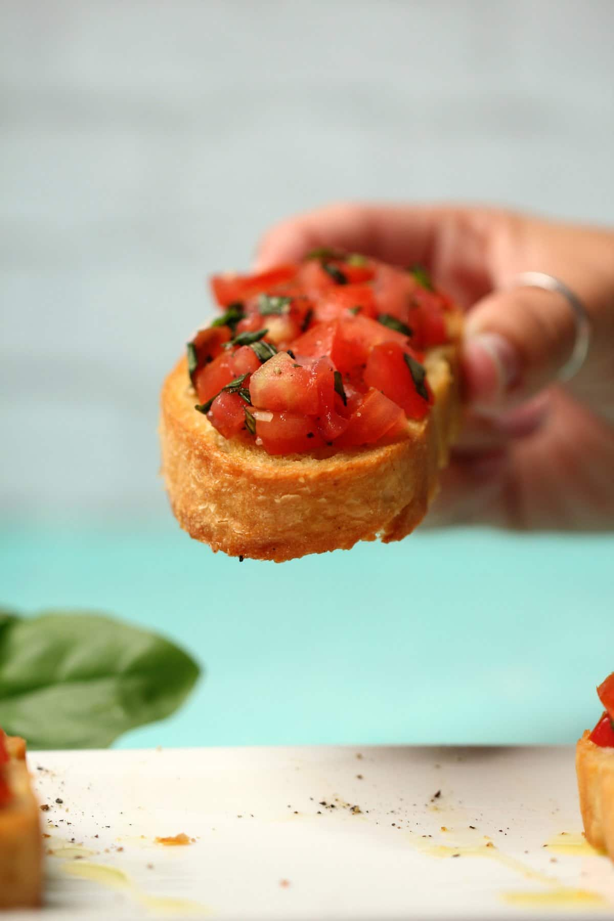 A slice of vegan bruschetta.