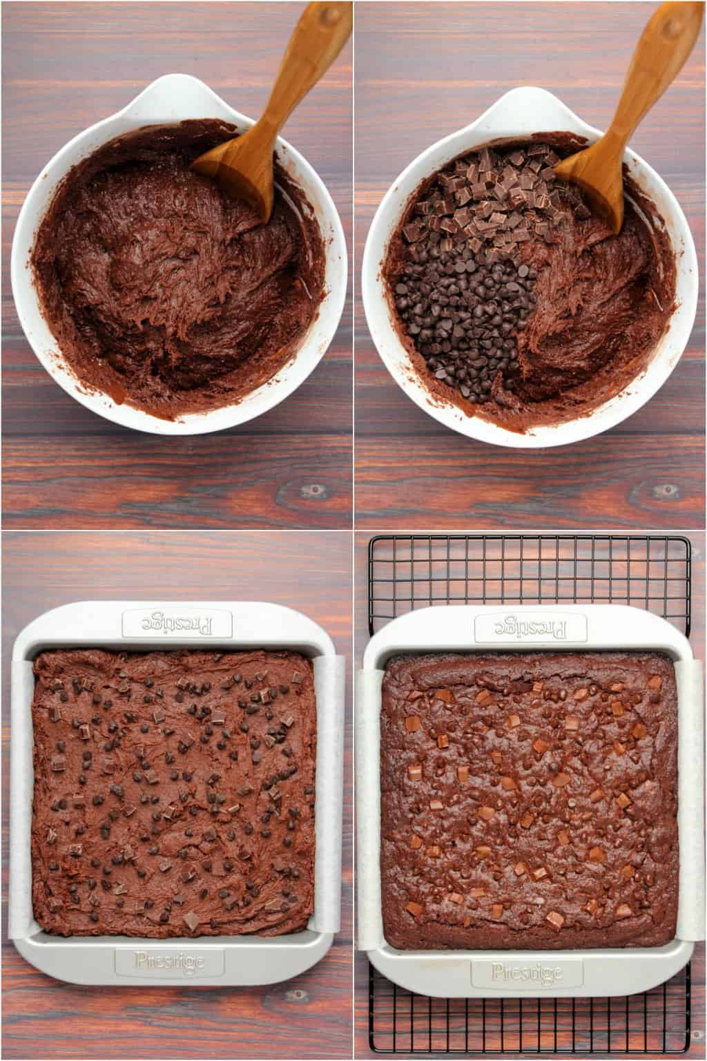 Step by step process photo collage of making vegan chocolate brownies.