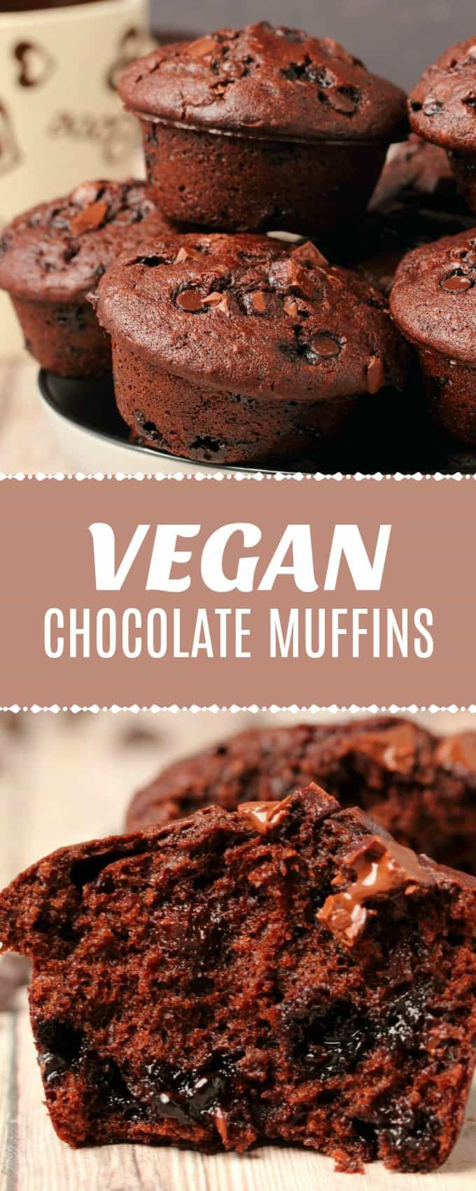 Double chocolate vegan chocolate muffins. These bakery-style muffins have a gorgeous domed top and are ultra moist and decadent.#vegan | lovingitvegan.com