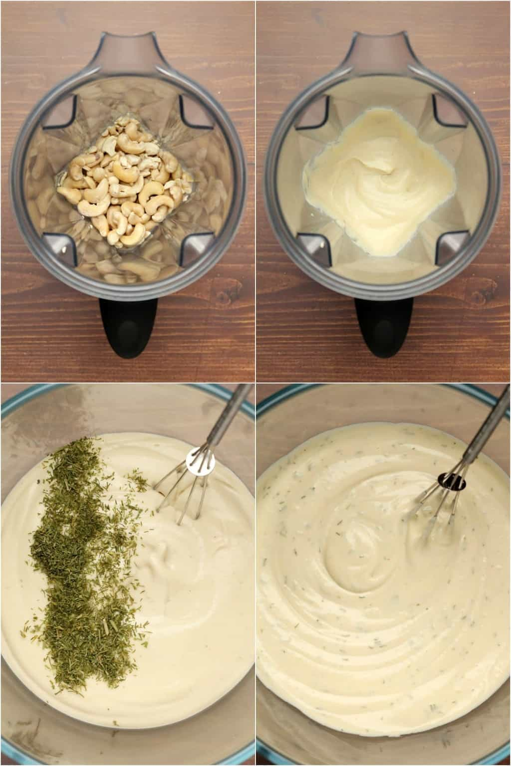 Step by step process photo collage of making vegan cream cheese.
