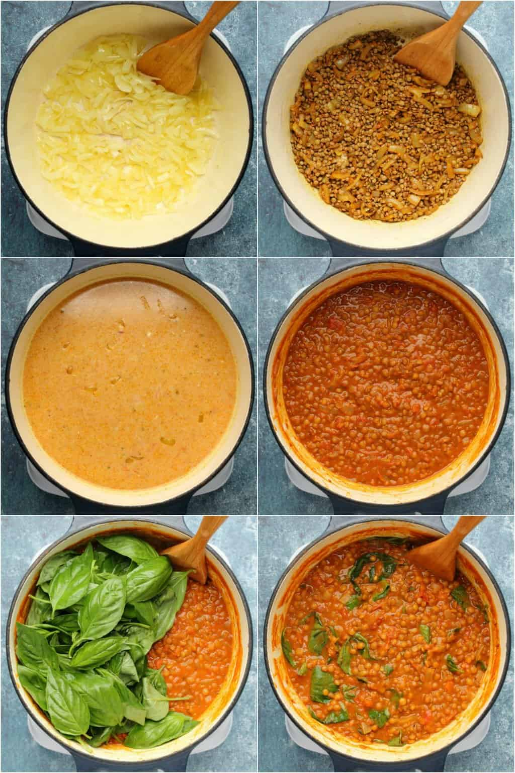 Step by step process photo collage of making vegan lentil curry.