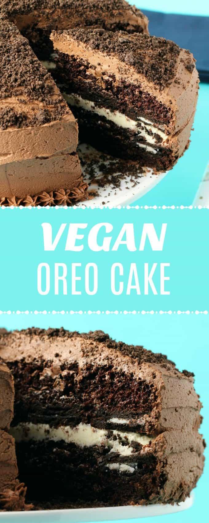 This vegan oreo cake looks like a giant oreo cookie! Oreo cookies are baked into the chocolate cake layers and it has a creamy vanilla center and vegan chocolate buttercream frosting.#vegan #dairyfree #dessert   lovingitvegan.com