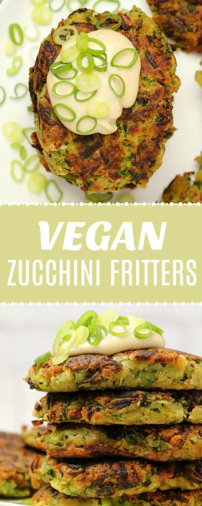 These delicious vegan zucchini fritters are crispy on the outside and moist on the inside with a perfect savory flavor. Quick and easy for a wonderful light meal. #vegan #veganrecipes #vegandinner | lovingitvegan.com