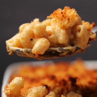 Serving spoonful of vegan mac and cheese.