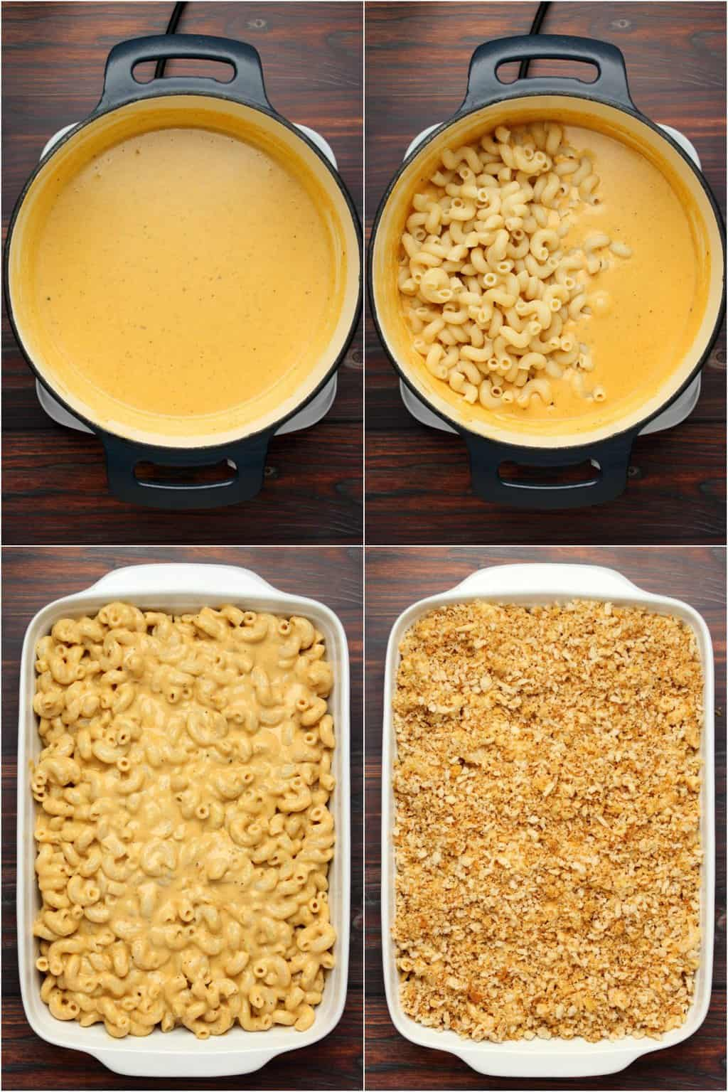 Step by step process photo collage of making vegan mac and cheese.