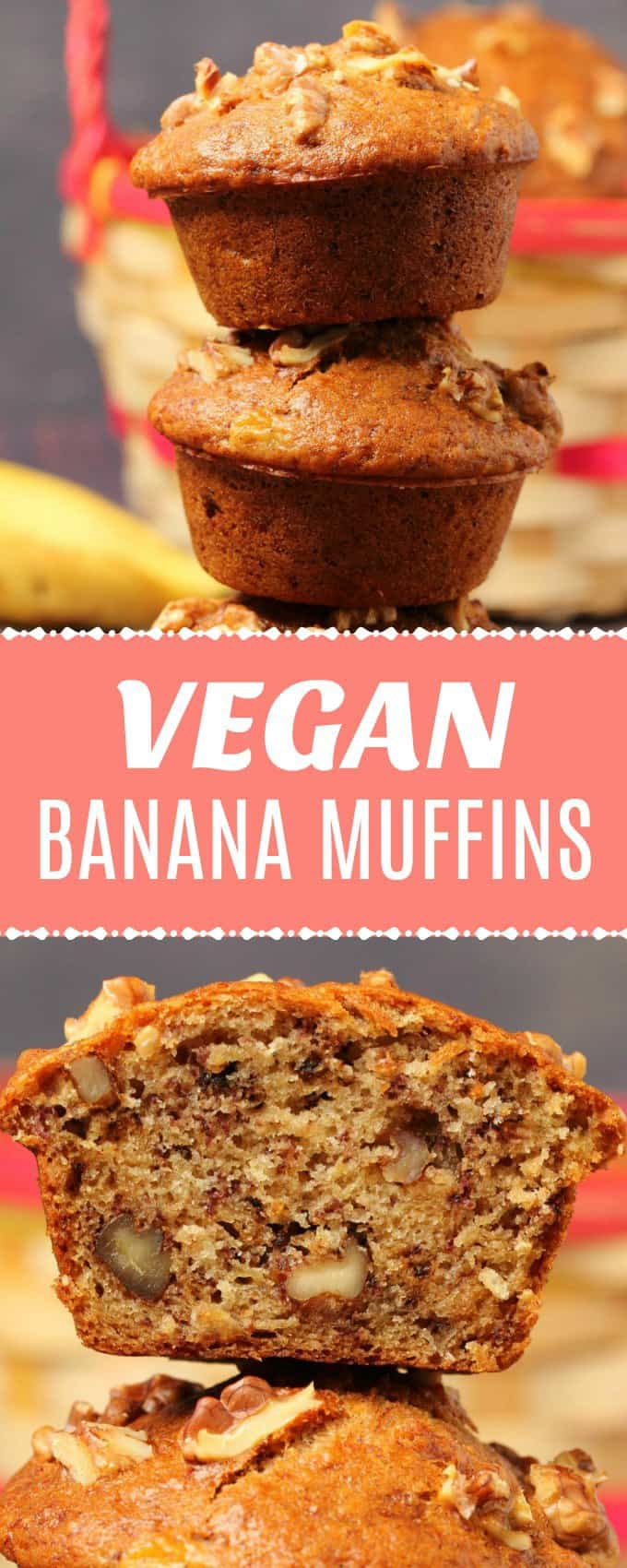 Perfectly moist vegan banana muffins with a gorgeous bakery-style domed top. Soft, fluffy and packed with banana flavor.#vegan #dairyfree   lovingitvegan.com