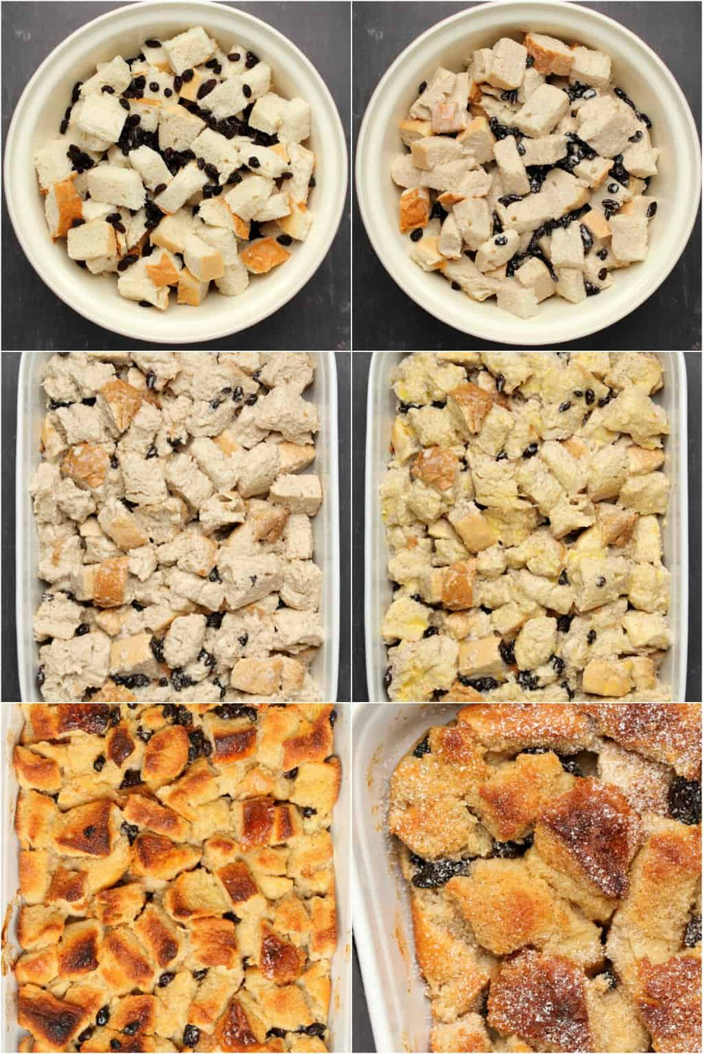 Step by step process photo collage of making vegan bread pudding.