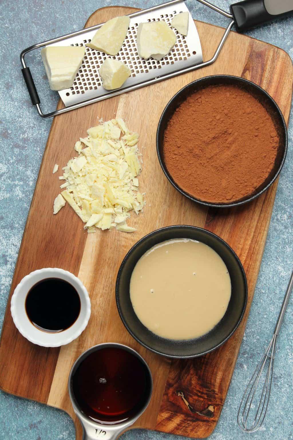 Ingredients for making vegan chocolate.
