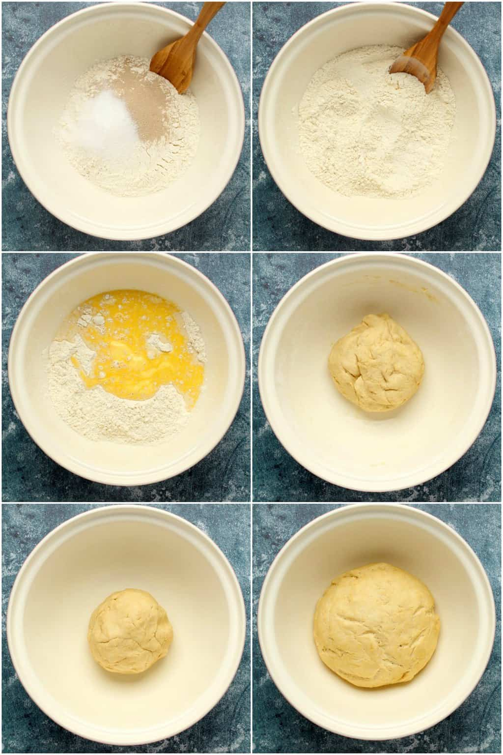 Step by step process photo collage of making dough for vegan cinnamon rolls.