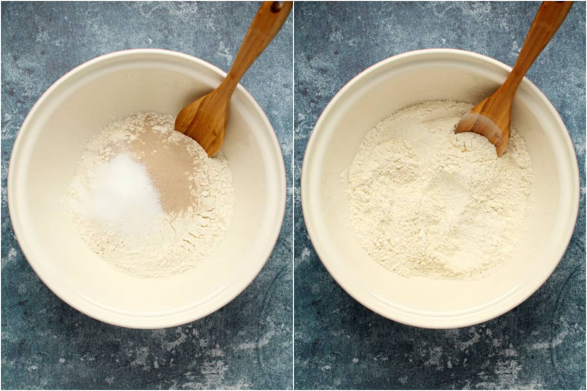 Two photo collage showing dry ingredients for dough added to mixing bowl and mixed together.